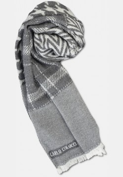 Patterned wool scarf, white-grey