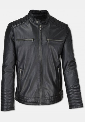 Leather jacket in Biker-style, black