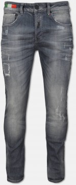 Jeans mit Used-Waschung und Logopiping, Grau
