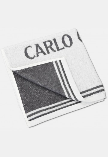 Jacquard towel with logo embroidery, white
