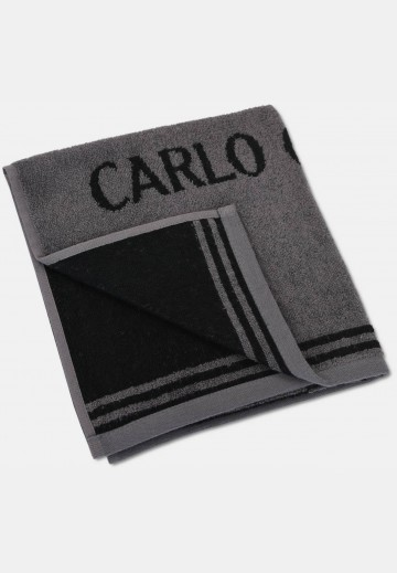 Jacquard towel with logo embroidery, anthracite