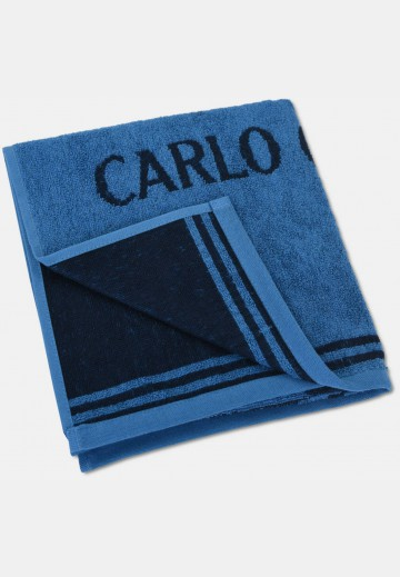 Jacquard towel with logo embroidery, blue