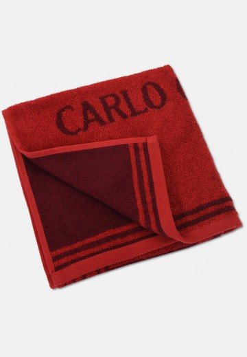 Jacquard towel with logo embroidery, red