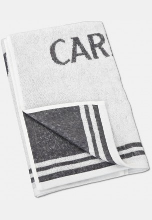 Jacquard shower towel with logo embroidery, white