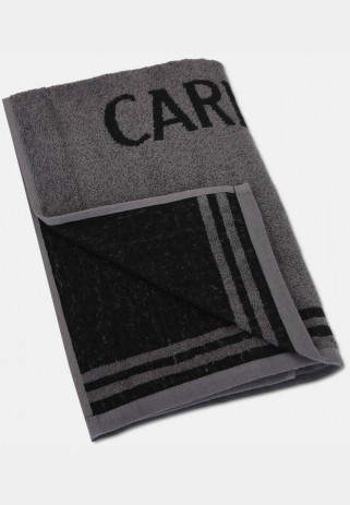 Jacquard shower towel with logo embroidery, anthracite