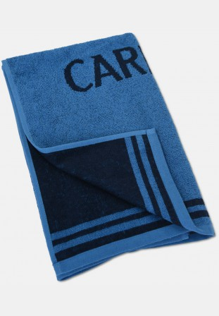 Jacquard shower towel with logo embroidery, blue