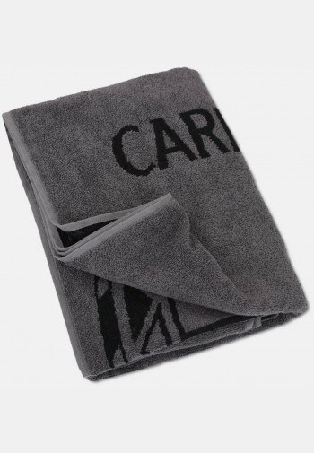 Jacquard sauna towel with logo embroidery, anthracite