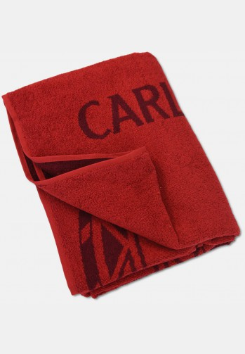 Jacquard sauna towel with logo embroidery, red
