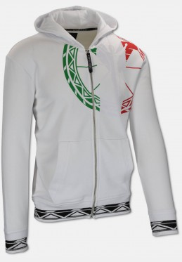 Sweatjacket with big front logo, white