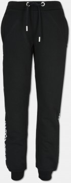 Children sweatpant with side piping, black