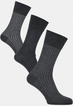 Modern stripe socks, grey melange