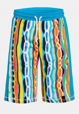 Sweatshort with colorful jacquard pattern, Blue-white