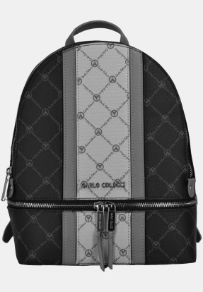 Backpack with logo print, black