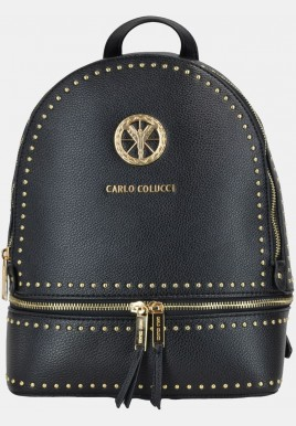 Backpack with golden rivets, black
