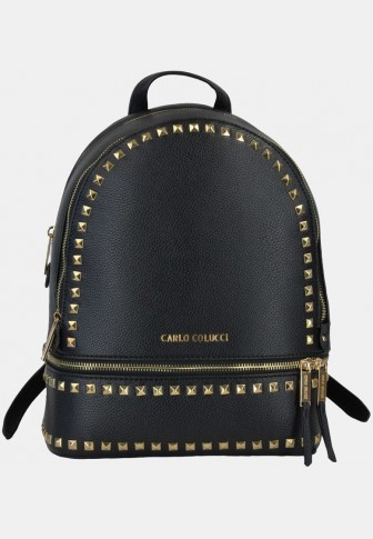 Backpack with pyramid rivets, black