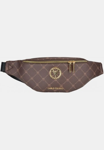 Bum bag with logo print, brown