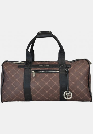 Weekender with logo print, brown