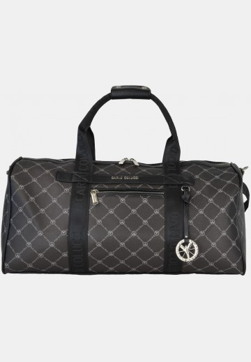 Weekender with logo print, black