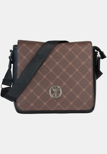 Shoulder bag with logo print, brown
