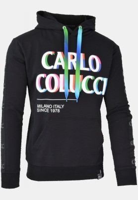 Sweatshirt with hood and colorful logo lettering, black
