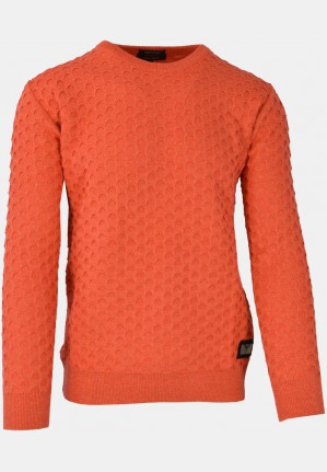Crew neck sweater with jacquard pattern, orange