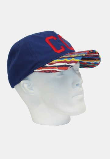 Blue men's cap with a colorful peak, navy