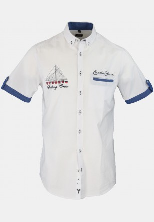Casual men's casual shirt with lots of embroidery, white