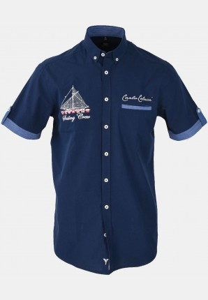 Casual men's casual shirt with lots of embroidery, navy