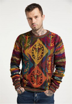 Allover Jacquard Pullover, Anthrazit