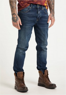 Moderne 5-Pocket Jeans, Blau Denim