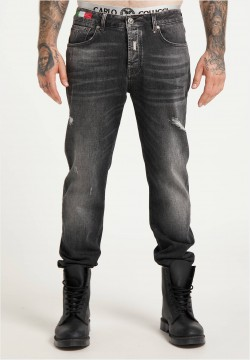 5-Pocket Jeans mit Used-Details, Dunkelgrau Denim