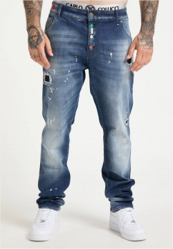 5-Pocket Jeans mit Destroyed-Effekten, Blau Denim