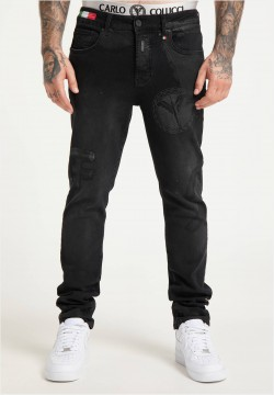 Destroyed Jeans im Used-Look mit Logopatch, Schwarz