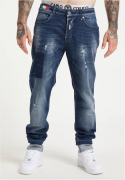 Destroyed Jeans im Used-Look, Blau Denim