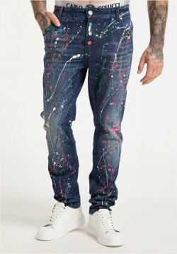 Jeans mit Color-Splashes, Blau-Bunt