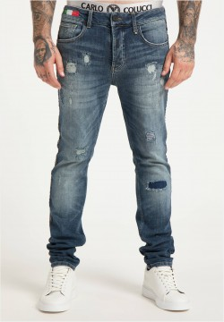 Destroyed Jeans mit seitlichem Piping, Blau Denim