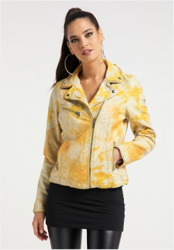 Damen Batik-Bikerlederjacke, Gelb-Orange