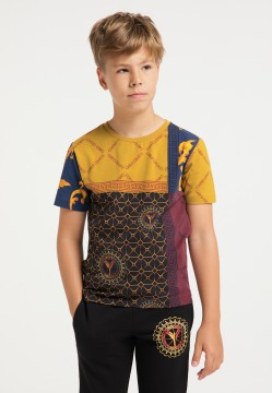 Children allover T-shirt, yellow patterned
