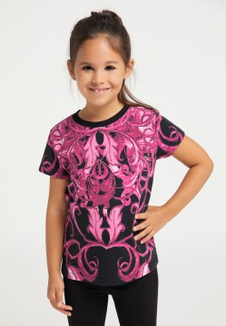 Girls T-shirt, pink-black