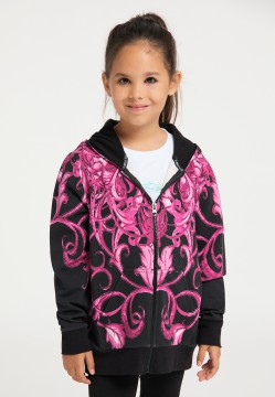 Girls oversize sweat jacket with hood, pink-black