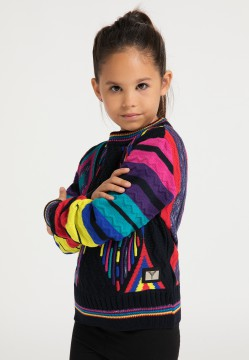 Children jacquard knit sweater, navy