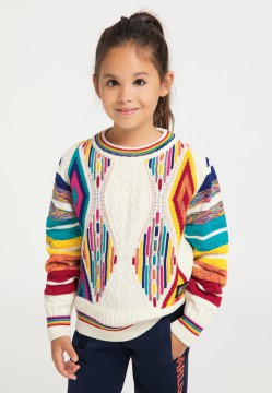 Children jacquard knit sweater, white