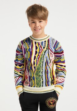 Colorful children jacquard sweater, white