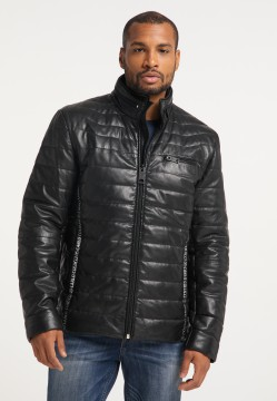 "Men's padded leather jacket ""Gulf"" with stand-up collar, black"