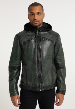 Men's leatherjacket with hood, green