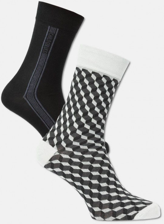 Herren Socken in 3D-Optik, 2er Pack  39-42
