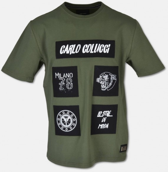 Elaborate T-shirt with 3D embroidery, olive  XS