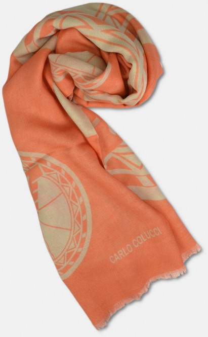 Schal aus Seide-Mix mit Logo-Print, Orange OS