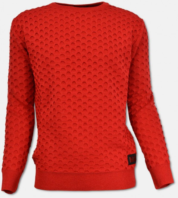 Rundhals Pullover mit Jacquard-Muster, Rot L