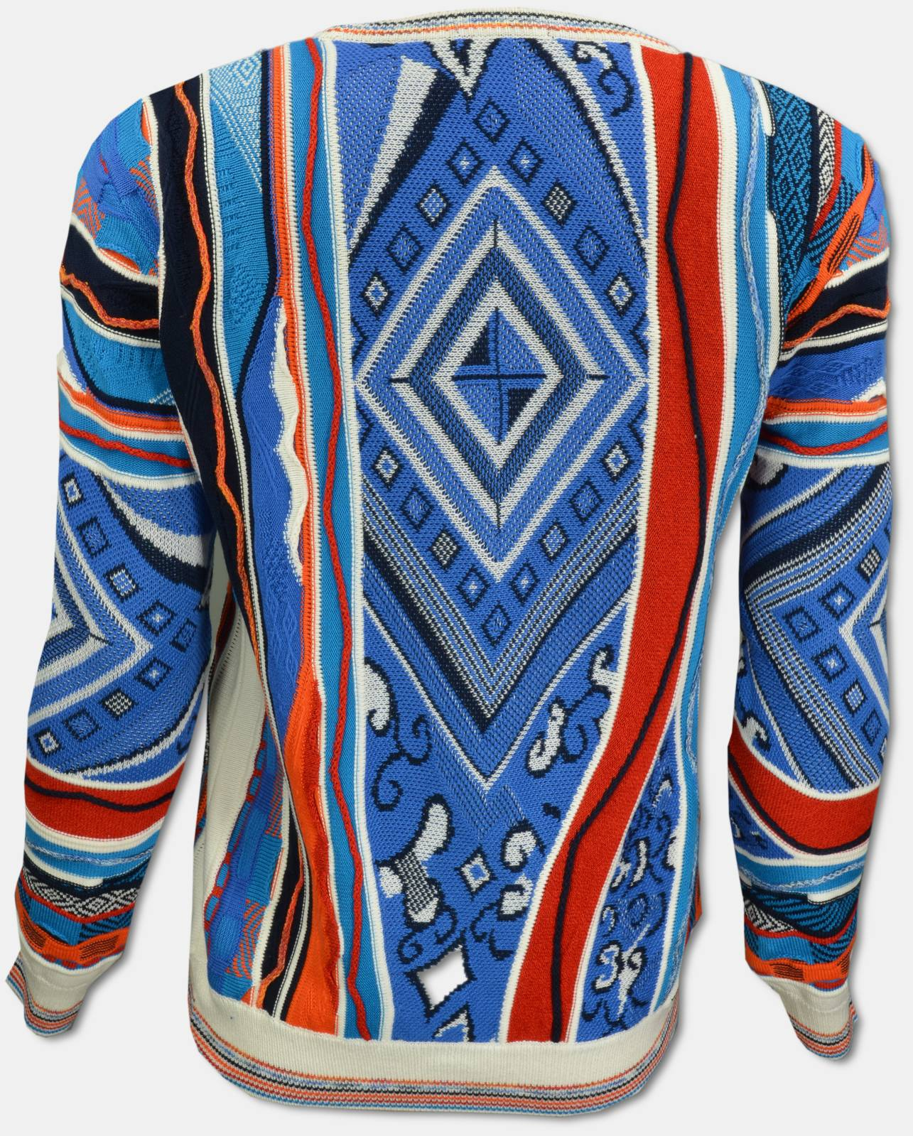 CARLO COLUCCI Online Shop | Pullover mit All Over Jacquard Muster, Blau Weiß gemustert XS